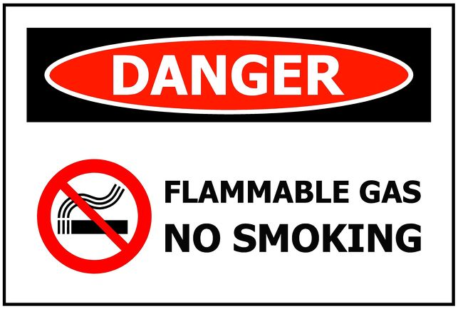 DANGER Flammable Gas No Smoking