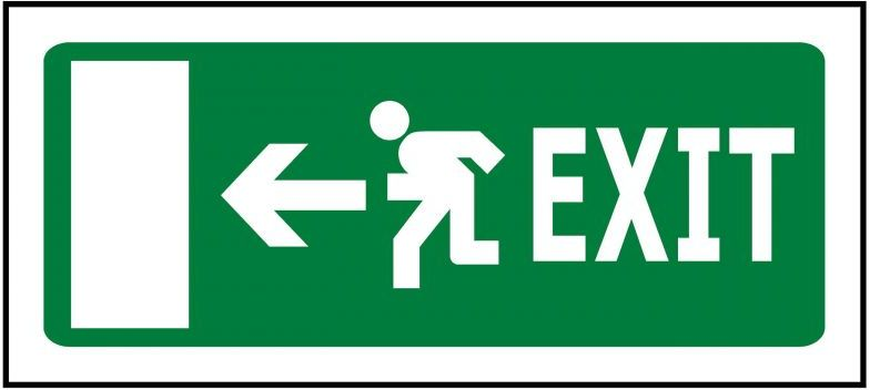 330x145 Emergency Exit Left - Self Adhesive