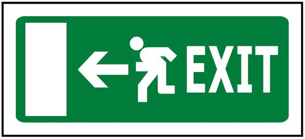 330x145 Emergency Exit Left - Luminous (Glow in the Dark)