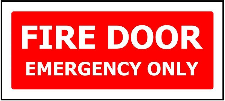 330x145 FIRE DOOR EMERGENCY ONLY