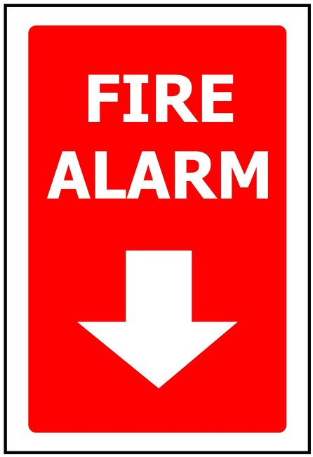 170x250  Fire Alarm + Down Arrow - Self Adhesive