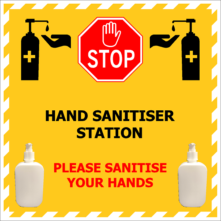 600x600 Hand Sanitiser Station with 2 x Brackets & 2 x Empty Pump Bottles