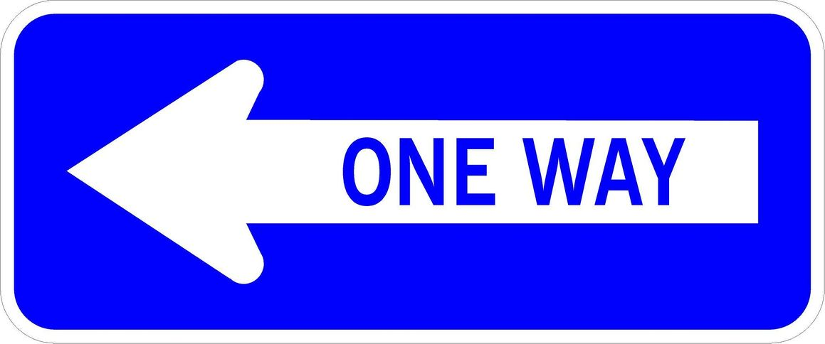 600x250mm One way LEFT arrow Reflective