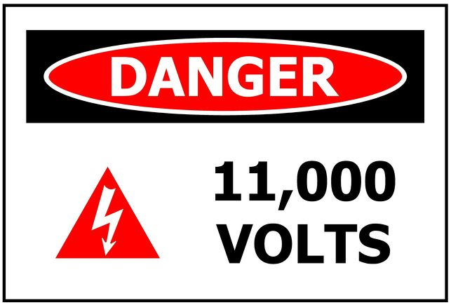 DANGER 123,456 VOLTS - Printed to order
